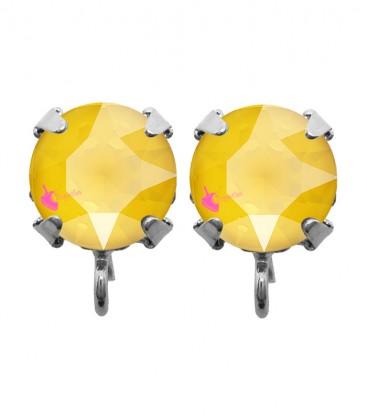 Base Orecchini a Perno con Chaton Swarovski Crystal Buttercup SS39 8 mm