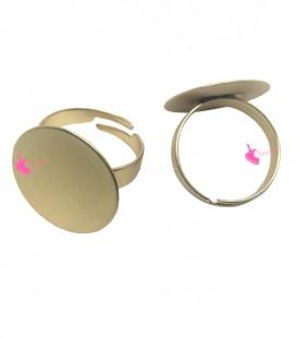 Base Anello Regolabile con Disco 20 mm Oro Opaco