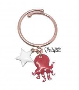 Anello Polpo Rosso con Stella Bianca Argento 925 Rosé