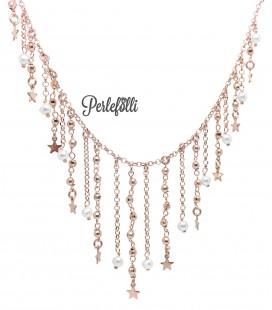 Collana Frange con Perle Bianche e Stelline Argento 925 Rosé
