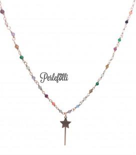 Collana Bacchetta Magica con Pietre Colorate Argento 925 Rosé