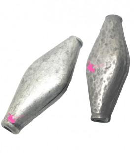 Perla Rombo 49x20 mm Resina Metallizzata Argento Antico