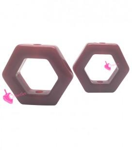 Perla Esagonale Resina 24x27 mm Rosso Scuro