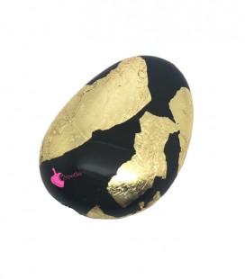 Perla Confetto Resina 37x26 mm Nera con Foglia d'Oro