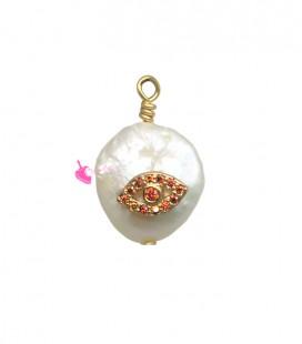 Ciondolo Perla Acqua Dolce 17-18 mm con Zirconi Ambra