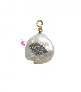 Ciondolo Perla Acqua Dolce 17-18 mm con Zirconi Turchese