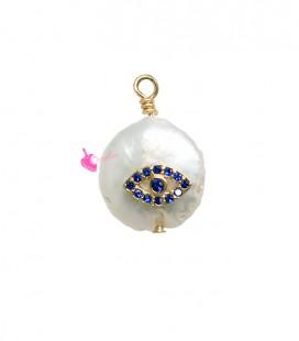 Ciondolo Perla Acqua Dolce 17-18 mm con Zirconi Blu