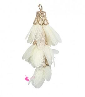 Nappina a Fiore 40 mm colore Bianco Avorio (3 pezzi uniti da un anellino)