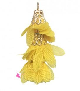 Nappina a Fiore 40 mm colore Giallo (3 pezzi uniti da un anellino)