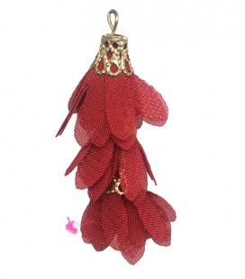 Nappina a Fiore 40 mm colore Rosso (3 pezzi uniti da un anellino)