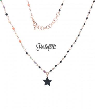 Collana Rosario con Stella Nera Argento 925 Rosé