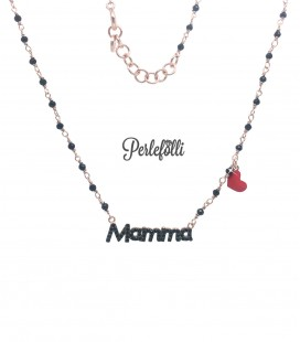 Collana Mamma Zirconi Neri con Cuoricino Rosso Argento 925 Rosé