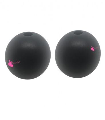 Perla Tonda Resina 20 mm (foro 3 mm) Nero Satinato
