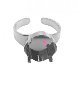 Base Anello con Castone per Quadrato 4470 12 mm color Acciaio