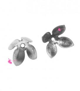 Coppetta Copriperla Fiore 4 Petali 10x7 mm Argento Antico