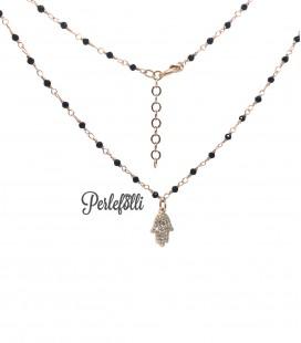 Collana Mano di Fatima con Zirconi Bianchi Argento 925 Rosé