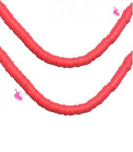 Filo Rondelle Heishi 6x1 mm Pasta Polimerica Rosso