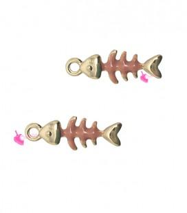 Ciondolo Lisca di Pesce Smaltata 16x6 mm Rosa