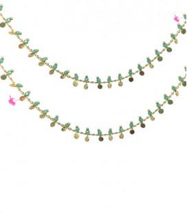 Catena con Rondelle Turchesi e Dischetti Oro (50 cm)