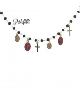 Bracciale Rosario con Madonnine e Croci Argento 925 Oro
