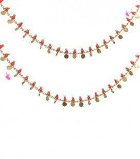 Catena con Rondelle Rosso Corallo e Dischetti Placcata Oro 18K (50 cm)