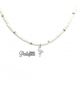 Cavigliera Heishi con Fenicottero Bianco Argento 925 Oro Rosa