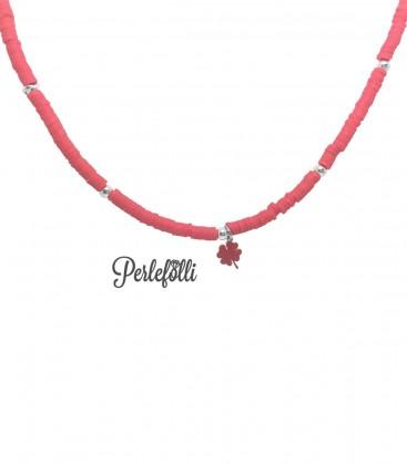 Cavigliera Heishi con Quadrifoglio Rosso Argento 925