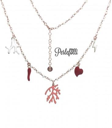 Collana Ramo di Corallo con Ciondoli Argento 925 Rosé