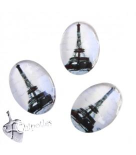Cabochon Ovale Torre Eiffel B&W 18x13 mm