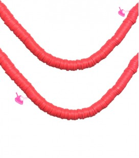 Filo Rondelle Heishi 4x1 mm Pasta Polimerica Rosso