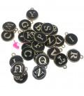 Ciondolo Smaltato Lettera Alfabeto 12x14 mm Nero e Oro (Set 26 pezzi)