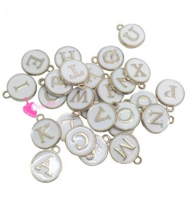 Ciondolo Smaltato Lettera Alfabeto 12x14 mm Bianco e Oro (Set 26 pezzi)