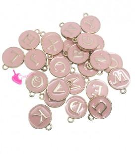 Ciondolo Smaltato Lettera Alfabeto 12x14 mm Rosa e Oro (Set 26 pezzi)