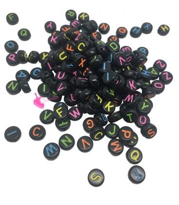 Perle Tonde Piatte Nere con Lettera Colorata 7x4 mm Acrilico (200 pezzi)