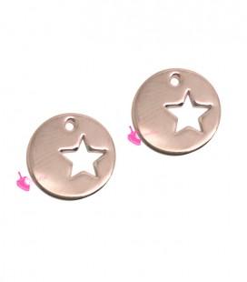 Ciondolo Medaglia con Stella Forata 10 mm colore Oro Rosa