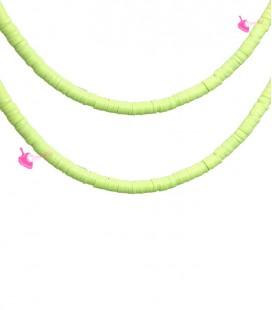 Filo Rondelle Heishi 4x1 mm Pasta Polimerica Verde Lime
