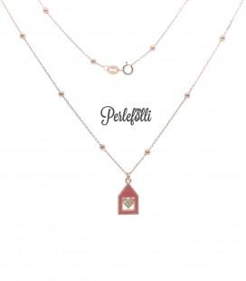 Collana Casa Rossa Cuore con Zirconi Argento 925 Rosé
