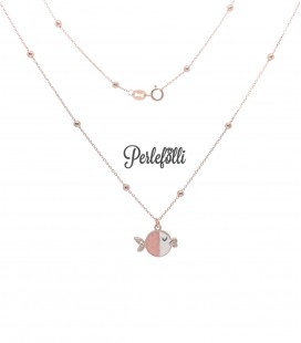 Collana Pesce Rosa con Zirconi Argento 925 Rosé