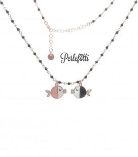 Collana Pesci in Amore con Zirconi Argento 925 Rosé