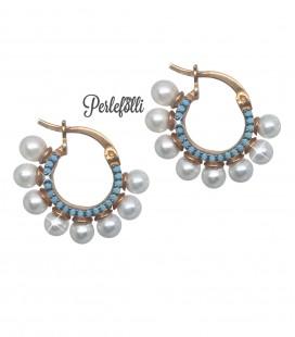 Orecchini Cerchio con Perle e Pietre Turchesi Argento 925 Rosé
