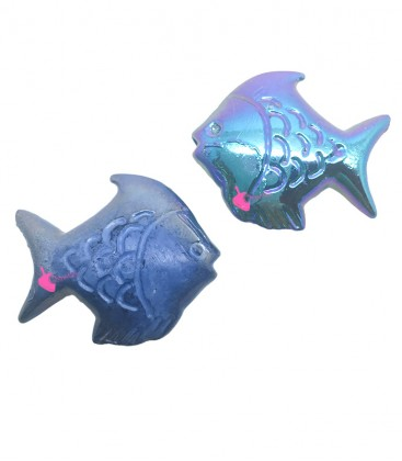 Perle Pesce Resina 30x26 mm Blu Perlato