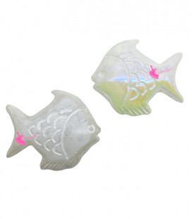Perle Pesce Resina 30x26 mm Bianco Perlato