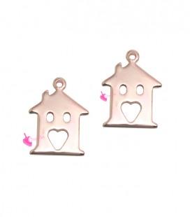 Ciondolo Casa con Cuore 15x11 mm colore Oro Rosa