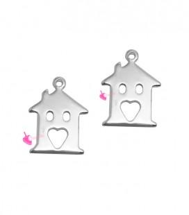 Ciondolo Casa con Cuore 15x11 mm colore Acciaio