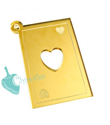 Ciondolo Carta Asso di Cuori 41x25 mm Plexiglass Specchiato color Oro