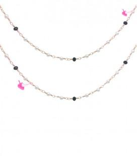 Catena Rosario con Perline Bianche 3 mm e Rondelle Nere Oro Rosa (1 metro)