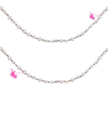 Catena Rosario con Rondelle Bianche 3 mm Mezzo Cristallo colore Oro Rosa (1 metro)