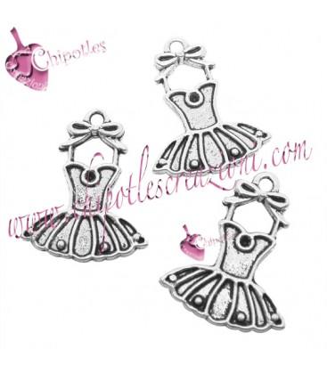 Ciondolo Tutù Ballerina 21x17 mm color Argento Antico (50 pezzi)