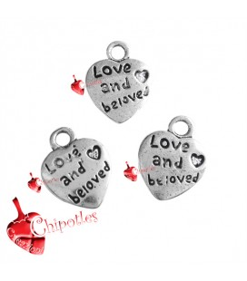 "Ciondolo Cuore ""Love and Beloved"" 12x10 mm color Argento Antico (100 pezzi)"