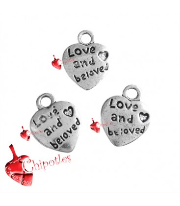 "Ciondolo Cuore ""Love and Beloved"" 12x10 mm color Argento Antico"